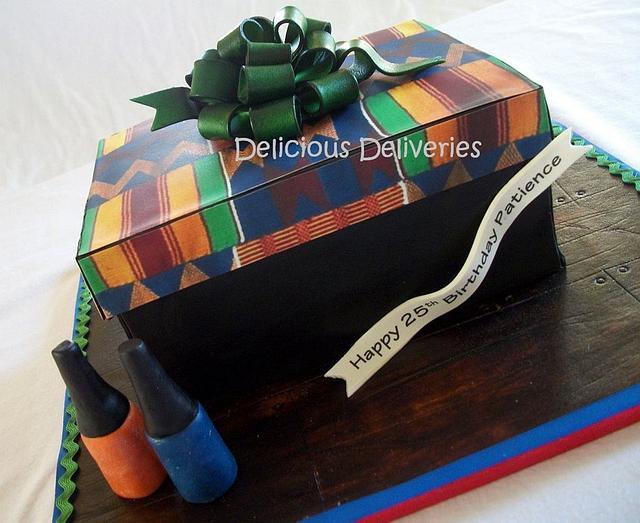 Kente Cloth Gift Box Cake