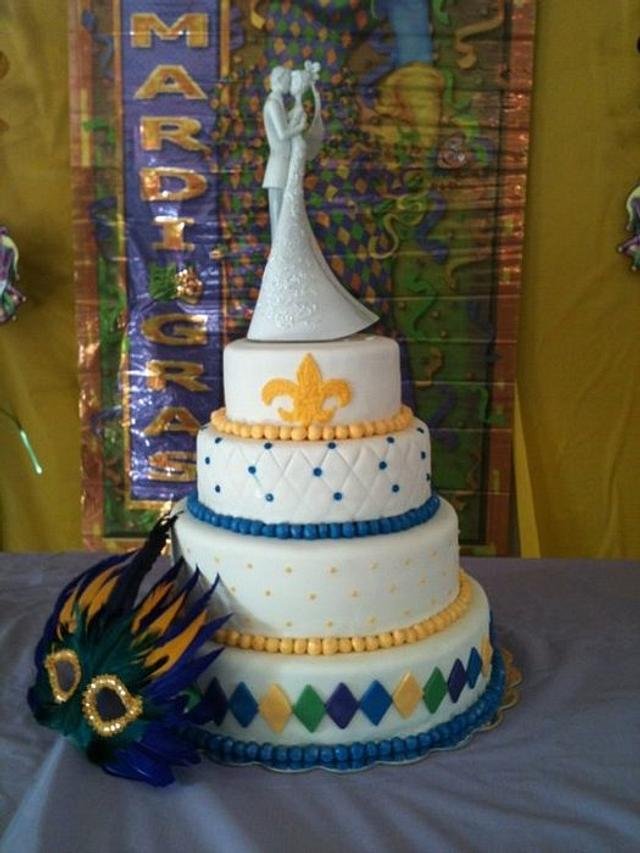 My first wedding cake - Mardi Gras themed