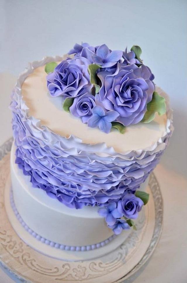 Purple ruffles, roses & pearls