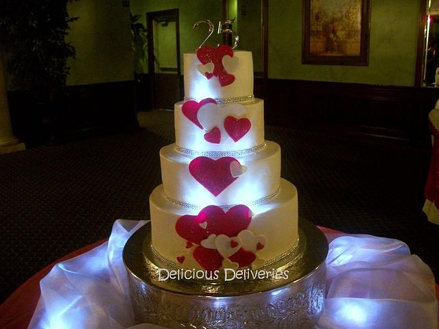 Illuminated Cascading Hearts Cake