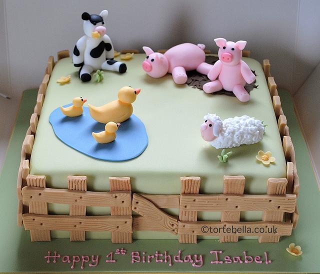 Remarkable Farm Animals Birthday Cake Cake By Tortebella Cakesdecor Funny Birthday Cards Online Alyptdamsfinfo