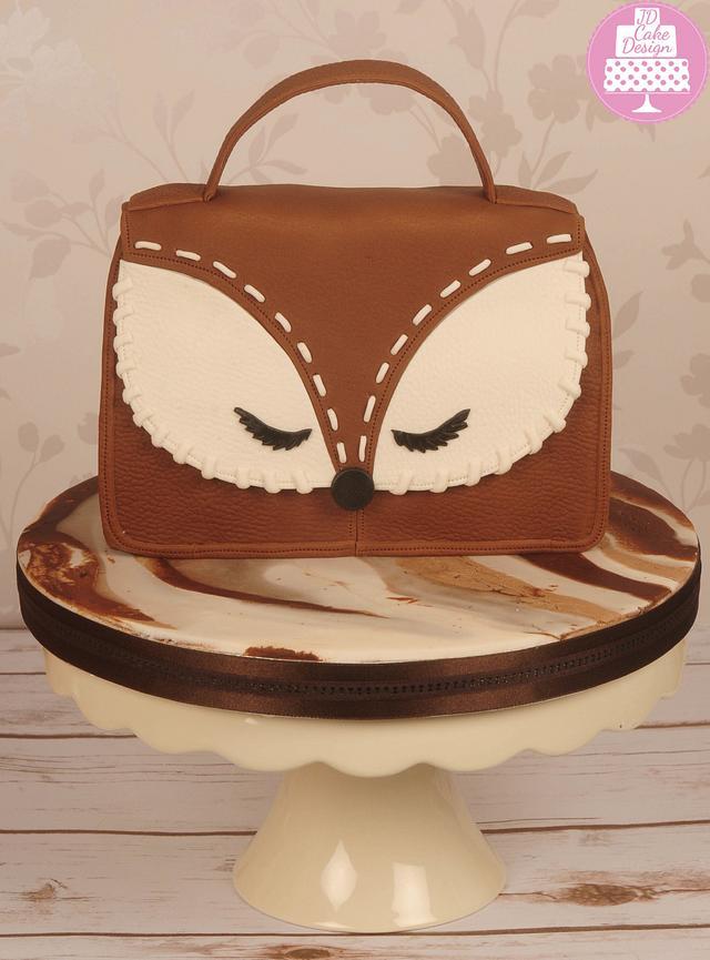 Brown leather look owl handbag cake