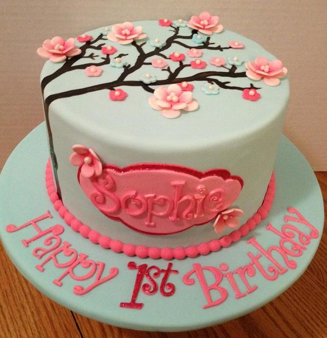 Astounding Cherry Blossom Birthday Cake Cake By The Ruffled Crumb Cakesdecor Birthday Cards Printable Giouspongecafe Filternl