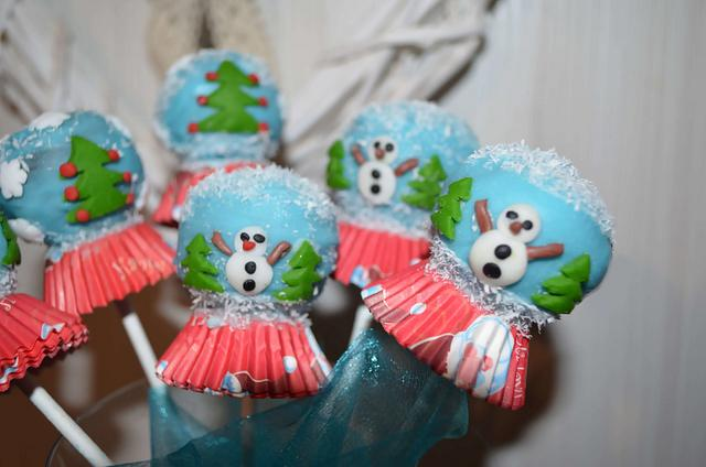snowball glass cakepops Christmas