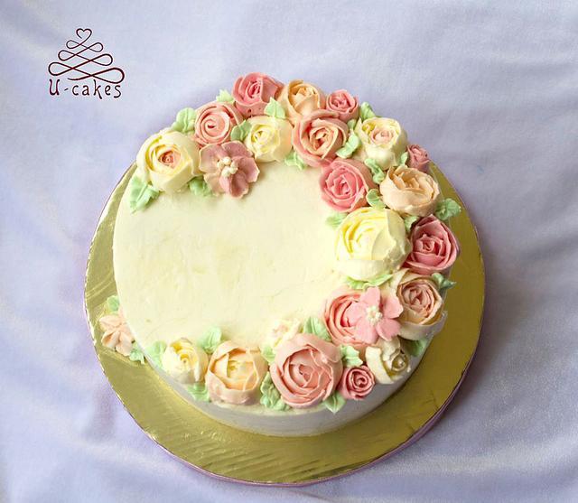first buttercream flowers
