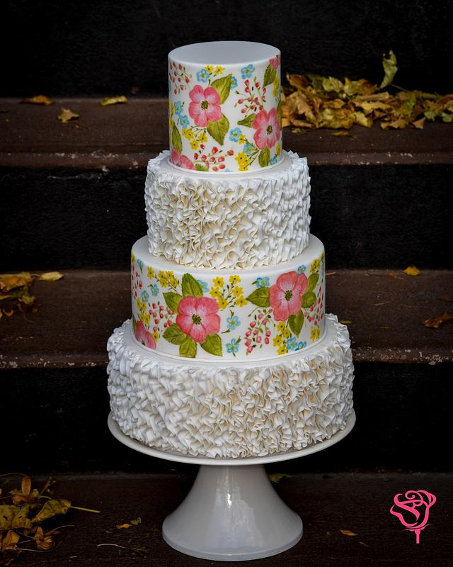 Painted ruffle cake