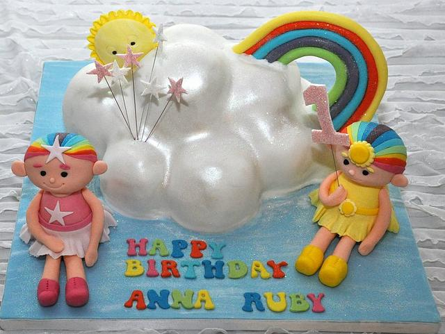 Cloudbabies cake. All made from edible modelling paste.