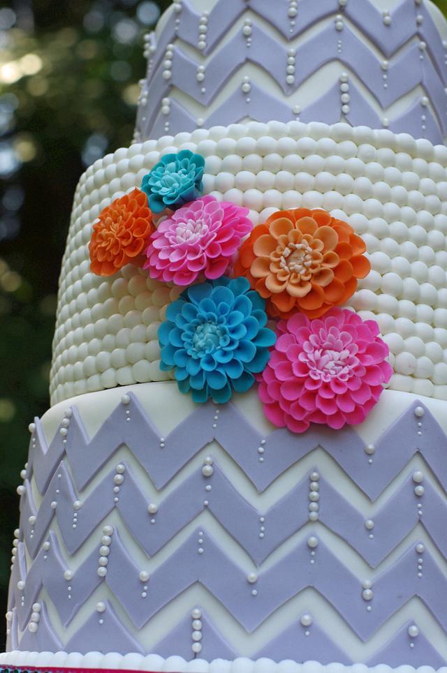 Happy chevron wedding cake