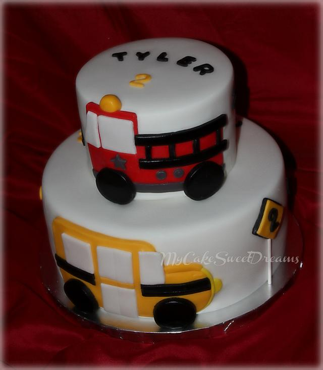 Sensational Fireman And School Bus Birthday Cake Cake By My Cake Cakesdecor Personalised Birthday Cards Cominlily Jamesorg