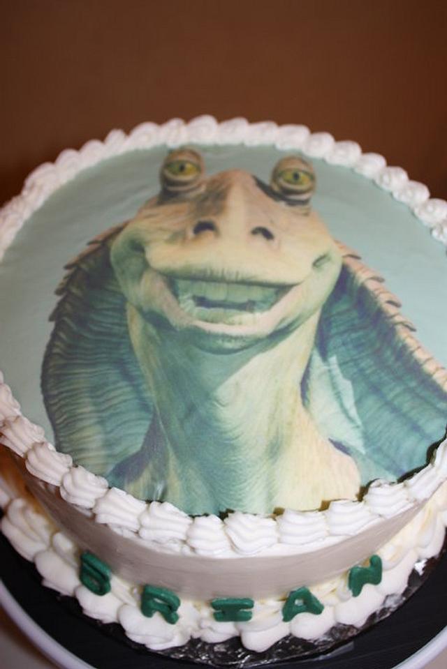 Magnificent Jar Jar Binks Star Wars Birthday Cake Cake By Pam And Cakesdecor Funny Birthday Cards Online Fluifree Goldxyz