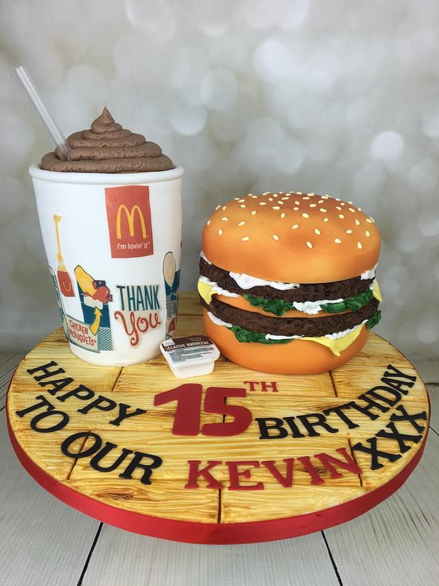 Mcdonald's burger and chocolate milkshake Cake!