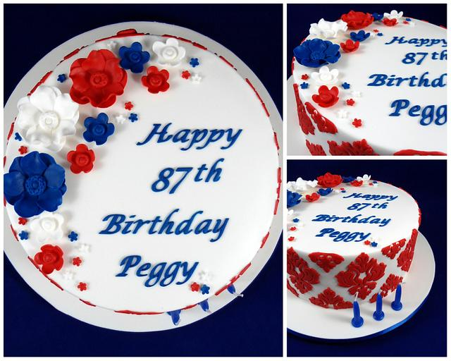 Red, White and Blue English and Dutch Birthday Cake