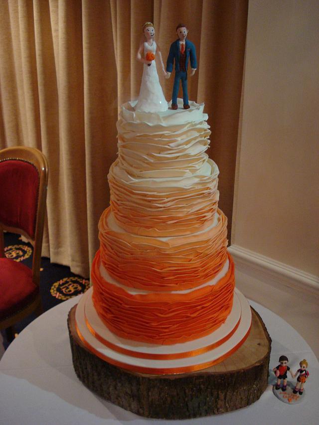 Sunset Orange Ombre Ruffle Cake.