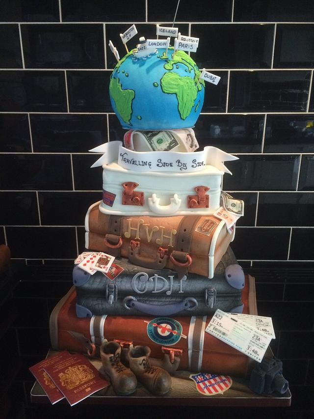 Travel suitcase wedding cake