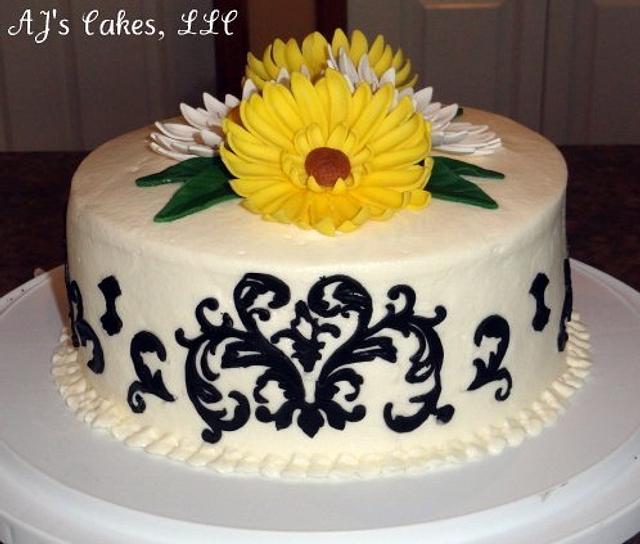 Damask Sunflower Cake