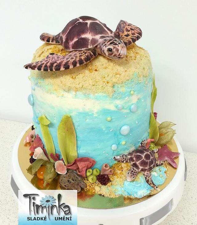 Fabulous Sea Turtles Cake By Timinka Cakesdecor Personalised Birthday Cards Veneteletsinfo