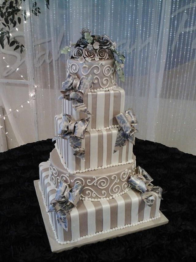 Square Plum Wedding Cake