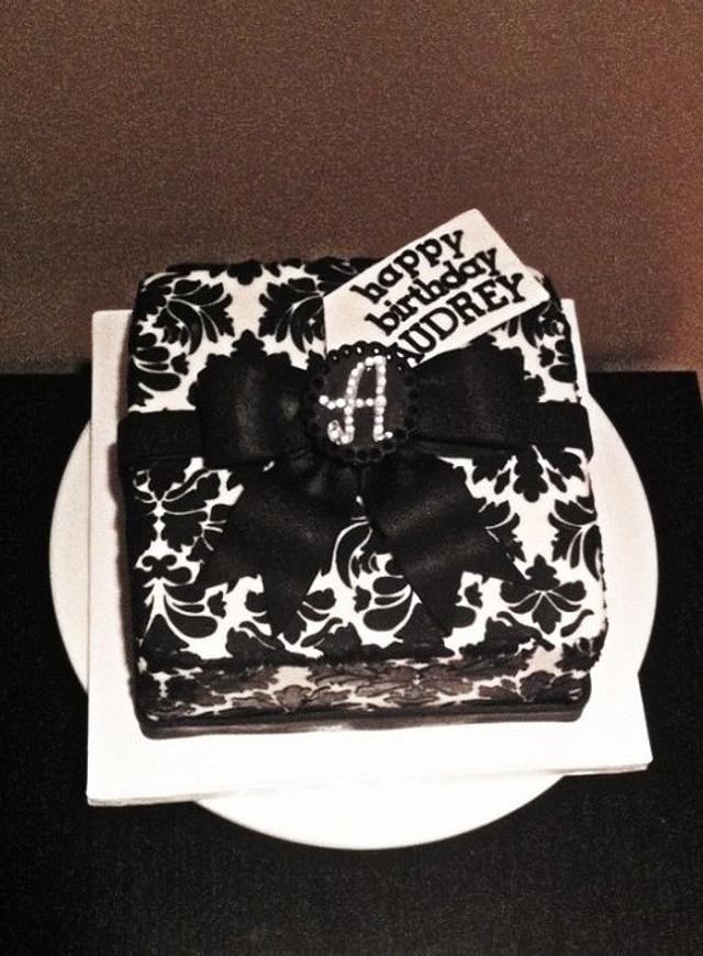 black & white damask gift box