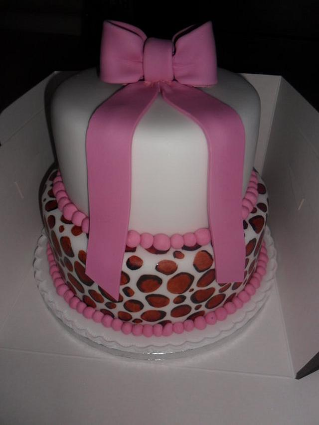 large 2 tier leopard spots birthday cake