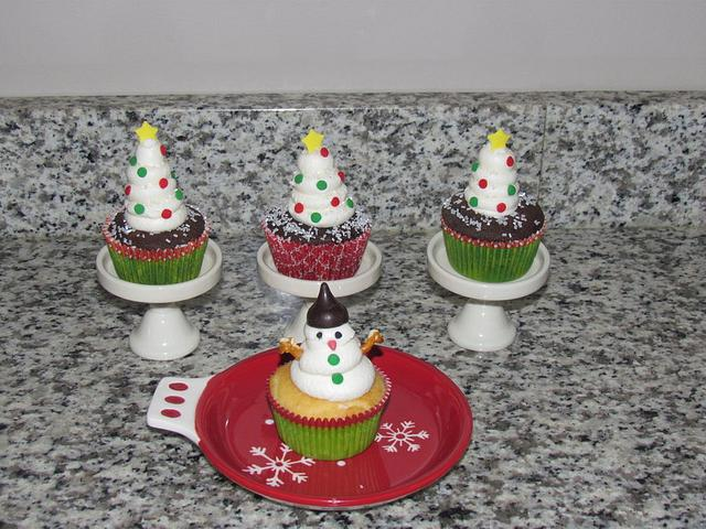 Snow-Covered White Christmas Trees and Snowman Cupcakes