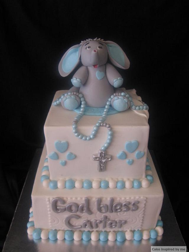 Blue white and grey baptism cake