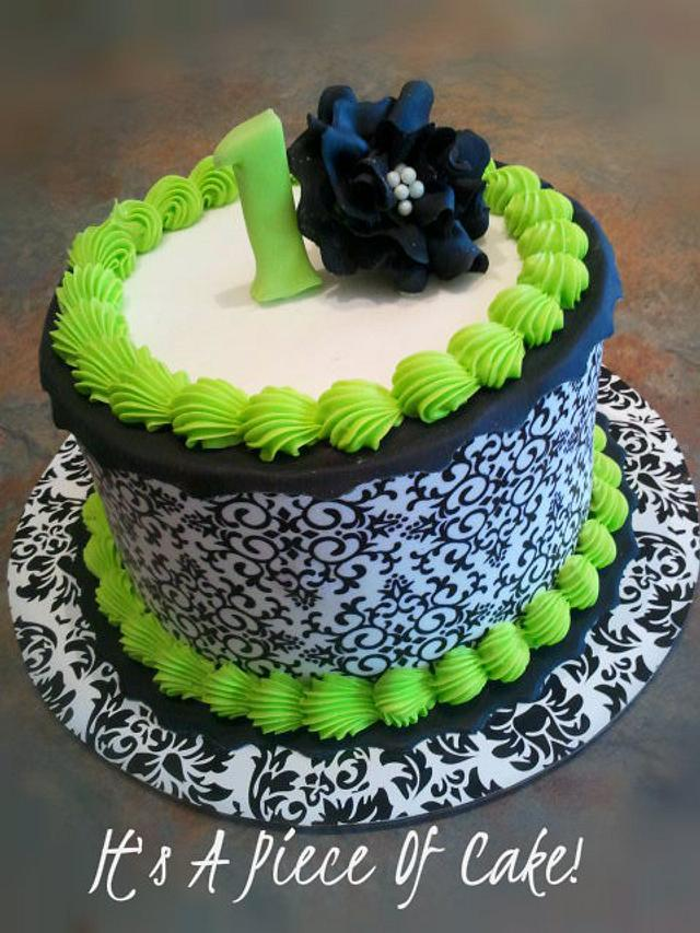 Damask Print 1st Birthday Smash Cake Buttercream Icing