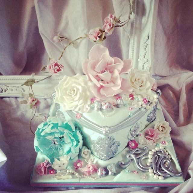 Prime Aqua Pink And Silver Birthday Cake Cake By Dee Cakesdecor Funny Birthday Cards Online Amentibdeldamsfinfo