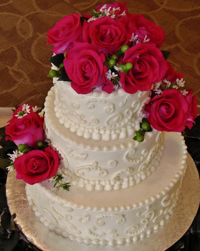 Pink Passion buttercream wedding cake