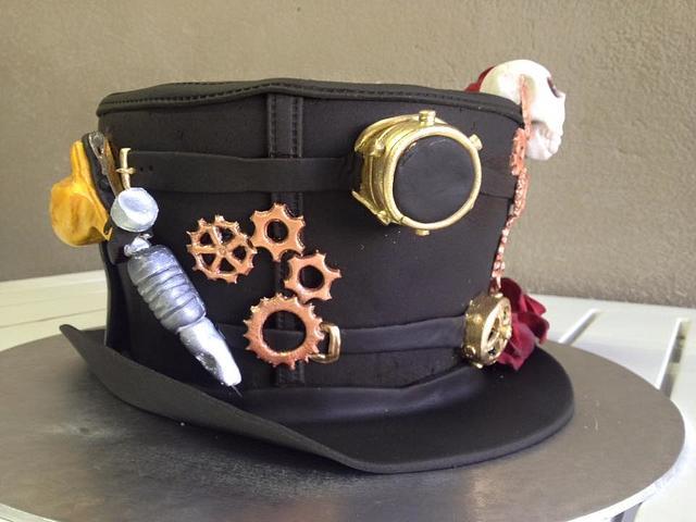 Steampunk Hat with Tattoo Guns