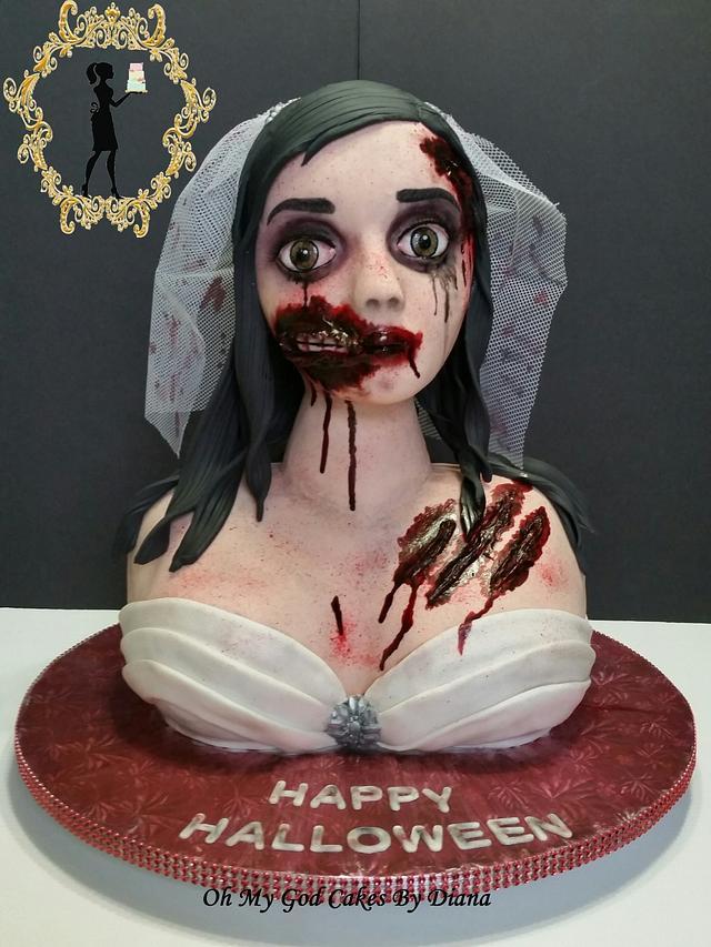 zombie bride holloween cake