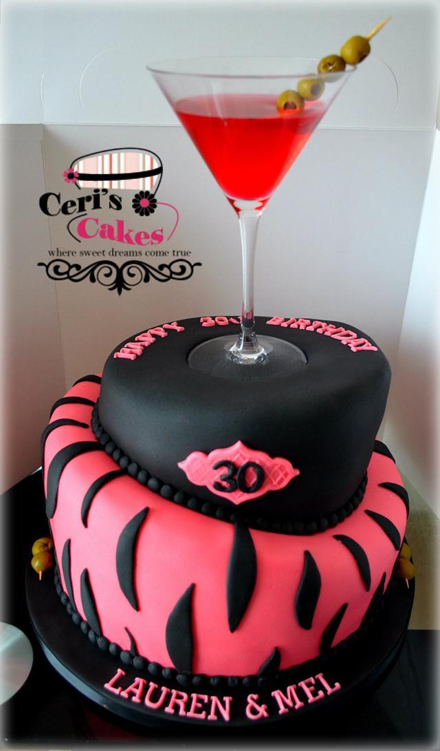 30th Birthday cocktail topsy turvy cake