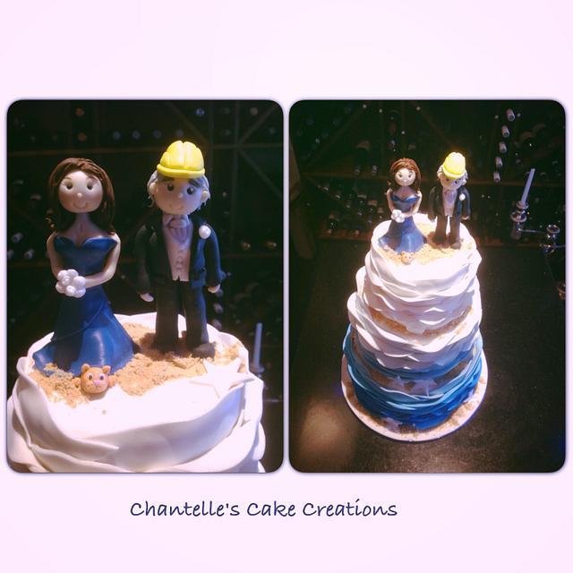 Beach ruffle wedding cake