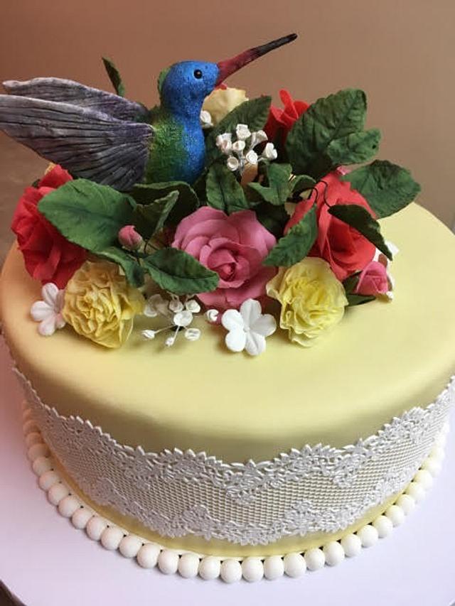 Outstanding Hummingbird Cake Cake By Kerry Cakesdecor Funny Birthday Cards Online Necthendildamsfinfo