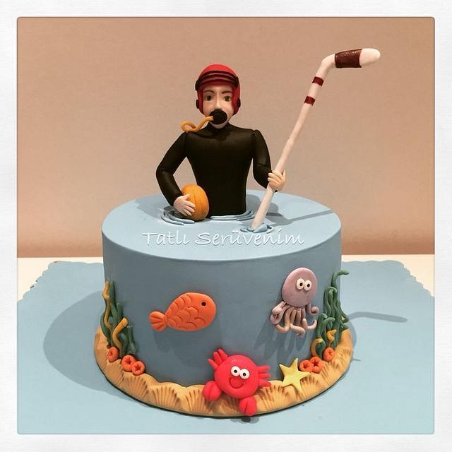 Scuba & Ice Hockey Player Cake