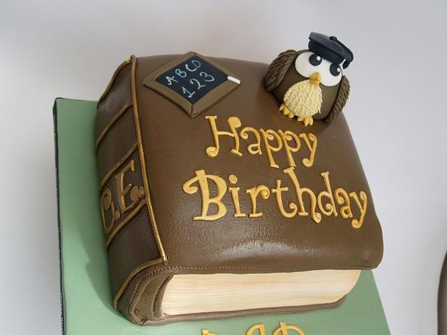 Fantastic Wise Owl And Book Birthday Cake Cake By Melanie Jane Cakesdecor Personalised Birthday Cards Xaembasilily Jamesorg