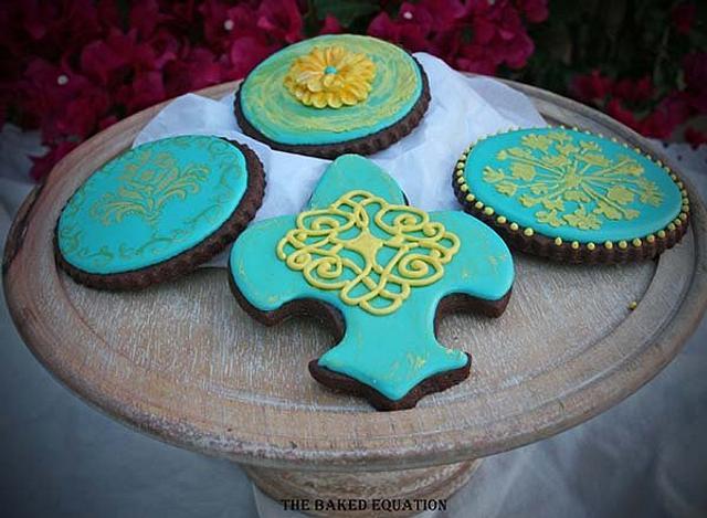 Teal & Yellow Baroque Cookies
