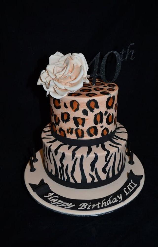 zebra and leopard cake