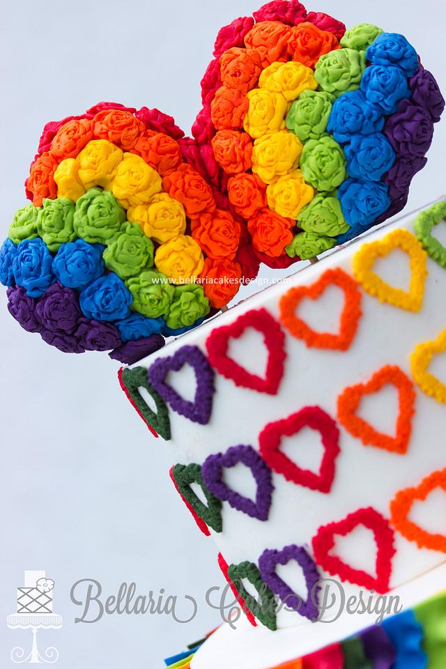 Colorful ruffles wedding cake