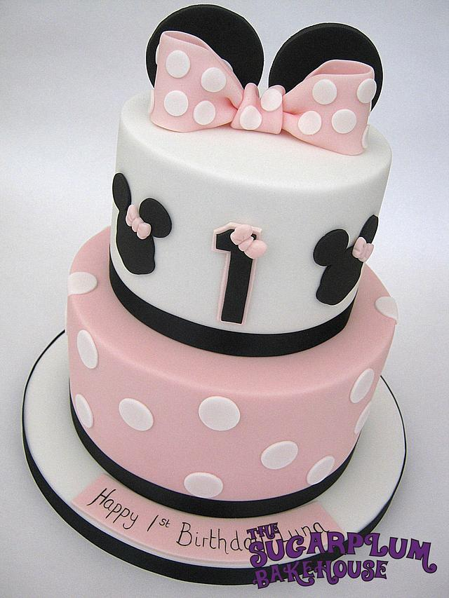 Awe Inspiring Simple Minnie Mouse 2 Tier Birthday Cake Cake By Sam Cakesdecor Funny Birthday Cards Online Alyptdamsfinfo