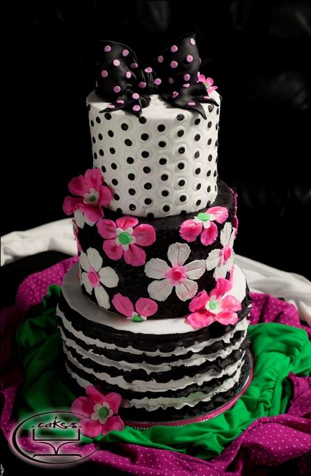 Pink, black and white theme