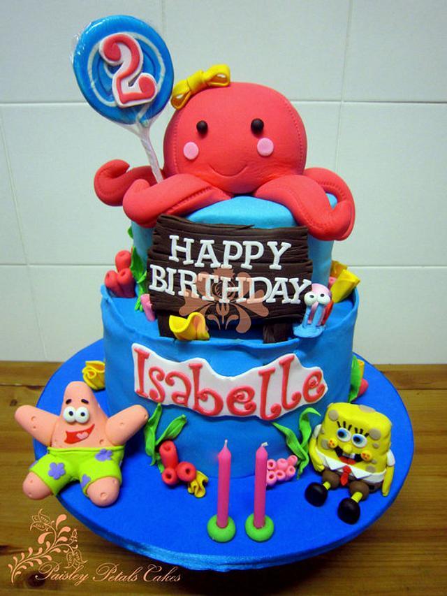Wondrous Octopus Spongebob Cake Cake By Paisley Petals Cakes Cakesdecor Funny Birthday Cards Online Inifodamsfinfo