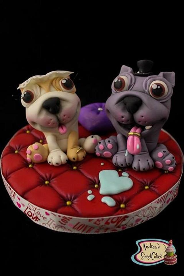 Bulldogs wedding cake topper