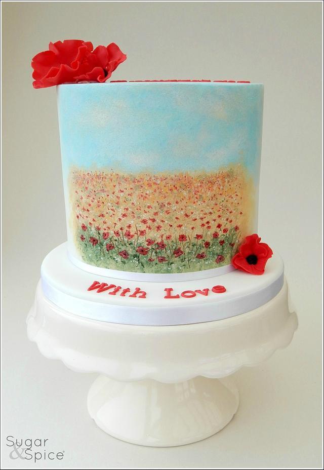 Painted Poppy Fields Cake