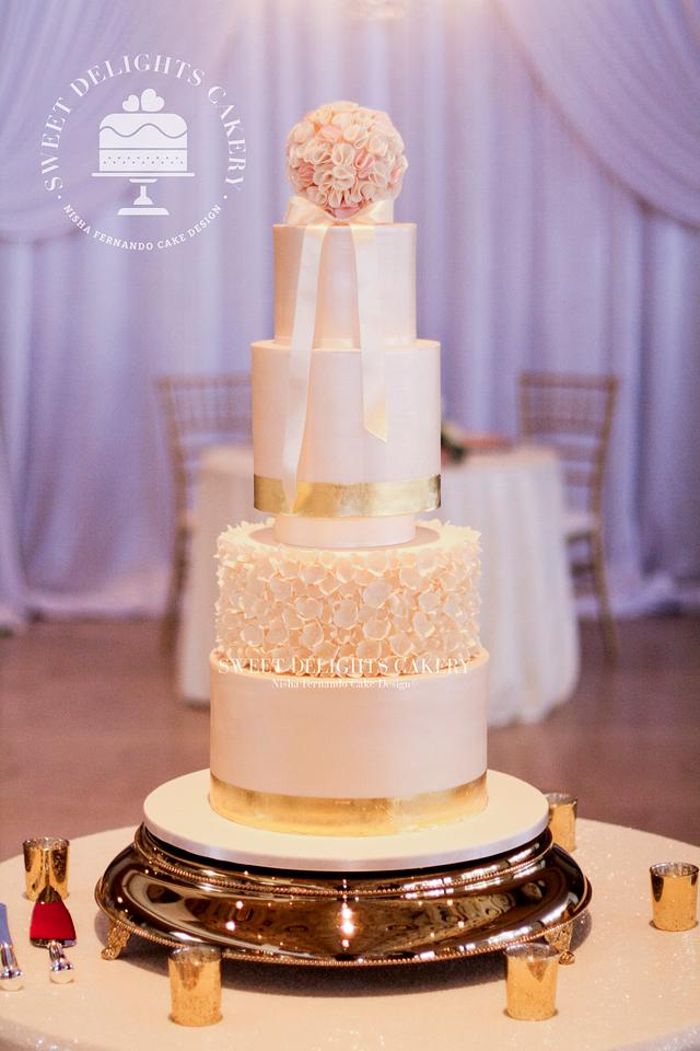 Elegant Ivory Gold Wedding Cake