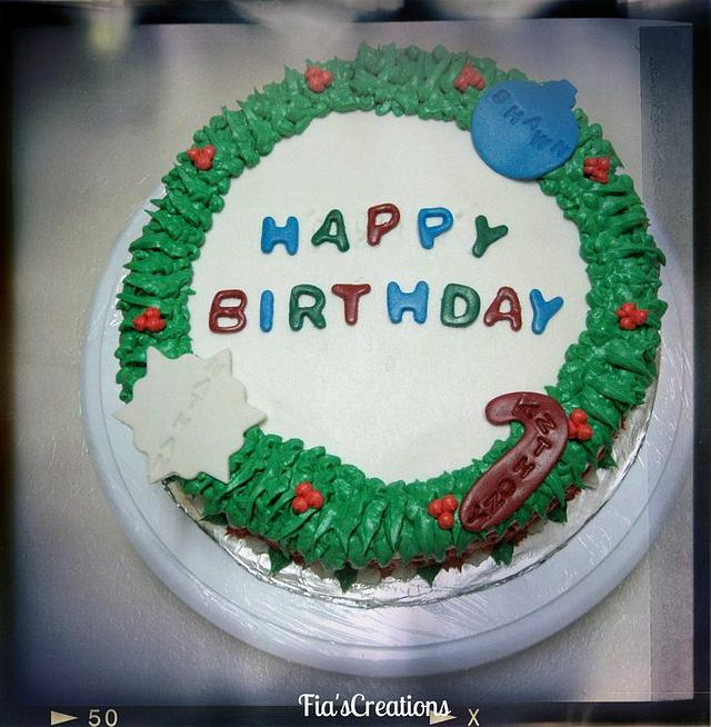 Christmas Birthday Cake with Wreath