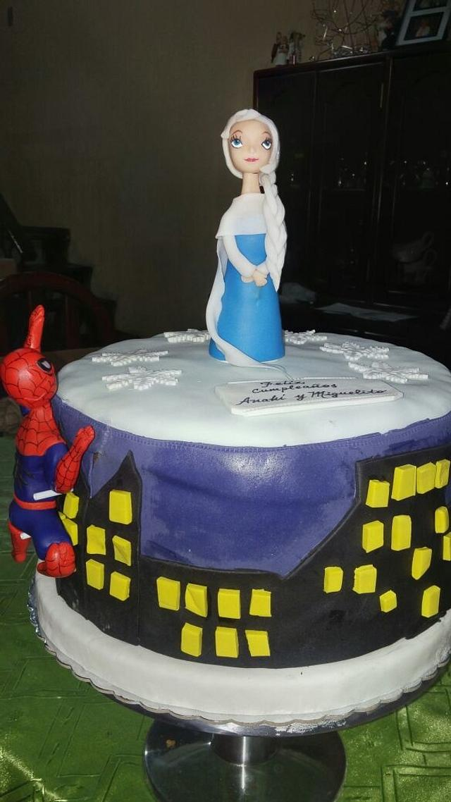 Frozen and spiderman cake