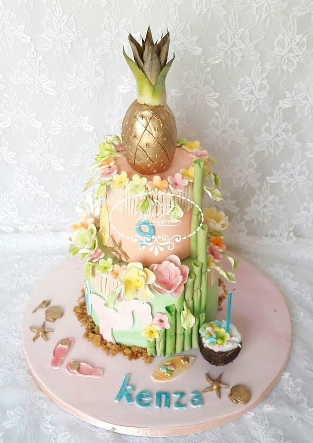 Admirable Hawaiian Birthday Cake Cake By Fees Maison Ahmadi Cakesdecor Funny Birthday Cards Online Fluifree Goldxyz