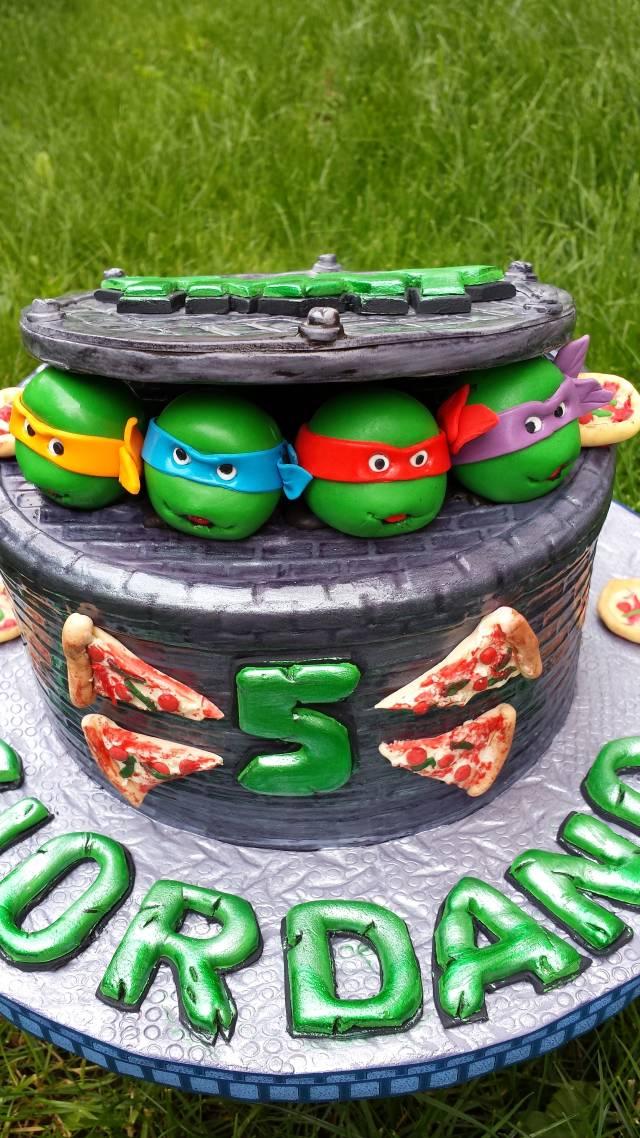 Astounding Tmnt 5Th Birthday Cake By Enza Sweet E Cakesdecor Funny Birthday Cards Online Ioscodamsfinfo