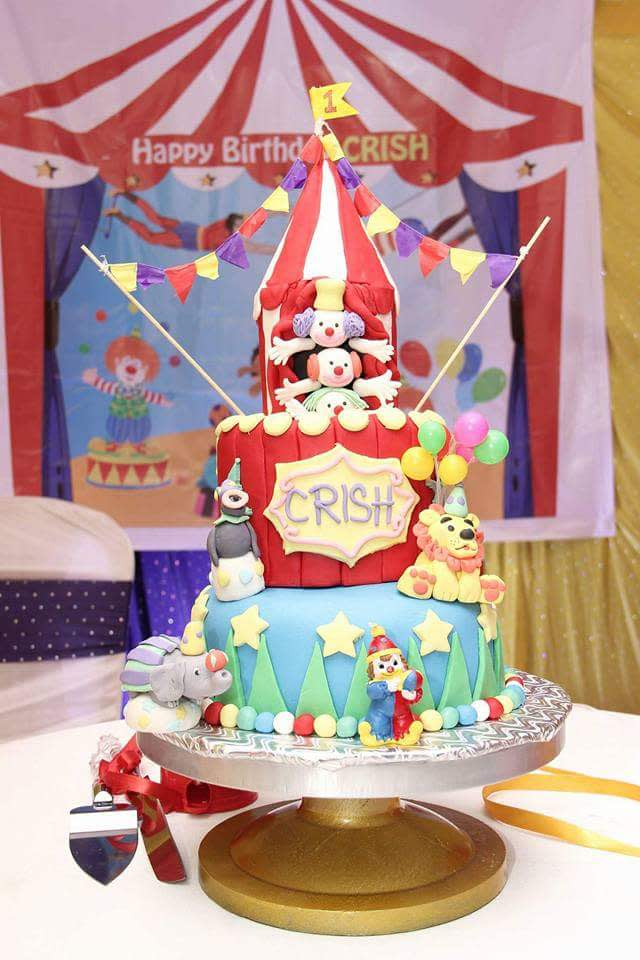 Stupendous Themed Birthday Cake 1 Circus Or Carnival Theme First Cakesdecor Personalised Birthday Cards Bromeletsinfo