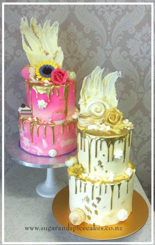 Gold drip and meringues, December 2018   Cupcake cakes
